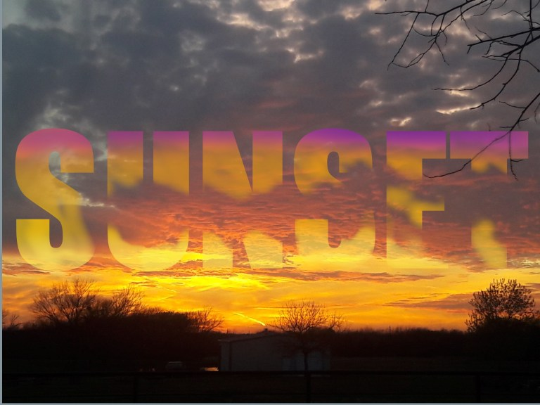 sunset photo with letters embedded