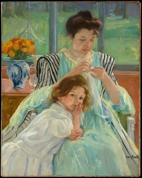 Young Mother Sewing - Painting by Mary Cassatt