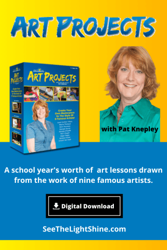 Art Projects - A school-year's worth of art lessons. Fulfills high school art credit. Digital Download format. See the Light Shine