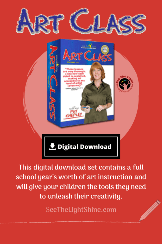 Red background with boxed art set and text overlay. Thisdigital downloadset contains afull school year's worth of art instructionand will give your children the tools they need tounleash their creativity. See the Light
