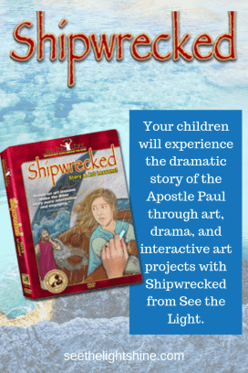 Watercolor background with DVD image of Shipwrecked. Your children will experience the dramatic story of the Apostle Paul through art, drama, and interactive art projects with Shipwrecked from See the Light Art.