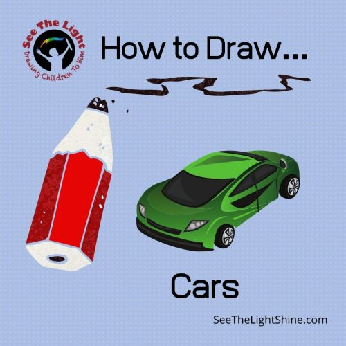 Blue background with cartoonish pencil and car. Text overlay: How to Draw Cars. See the Light Shine
