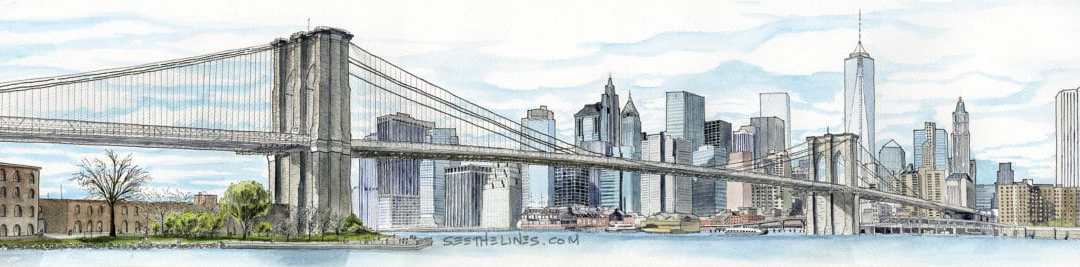 Brooklyn Bridge and NYC Skyline