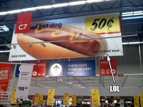 not actual size hot dog