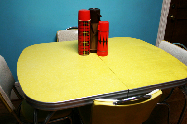 retro dining table chairs uk rectangular chair leg caps yellow formica on vintage design | seeur