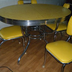 Drop Leaf Kitchen Table And Chairs Cream Bean Bag Chair Yellow Formica On Vintage Design | Seeur