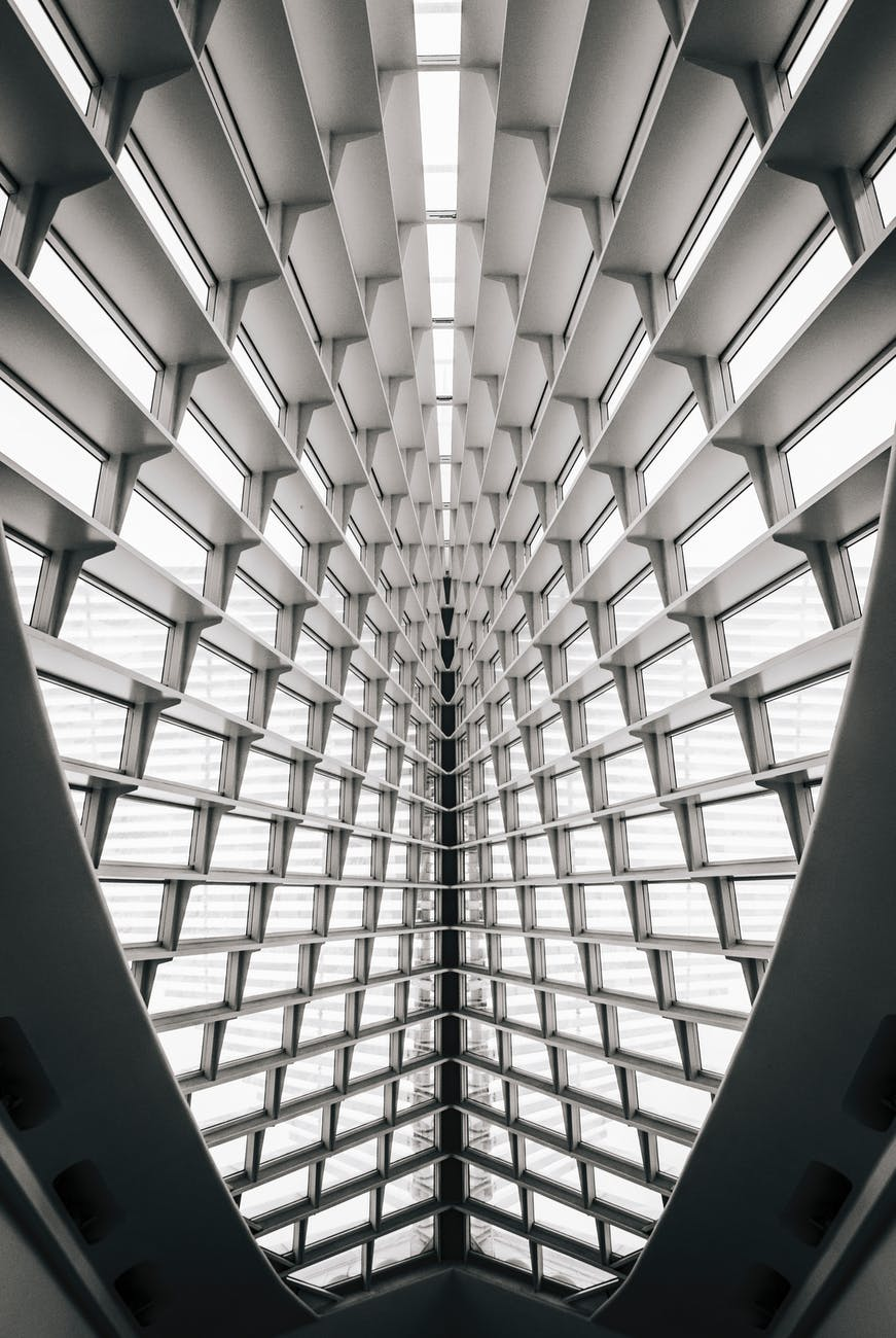 white and black glass ceiling