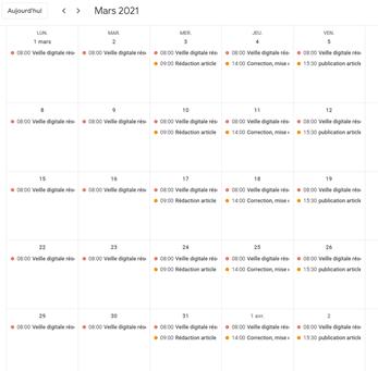 google calendar calendrier éditorial 2
