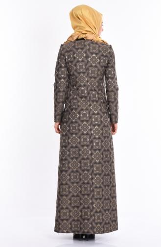 İç Elbiseli Kaftan Takım 709002 Vizon