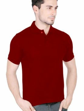 Men's plain polo t shirt-Maroon.