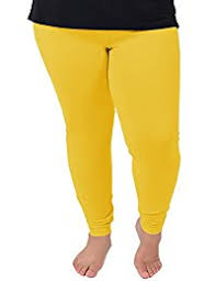 Women's plus size leggings-Yellow.