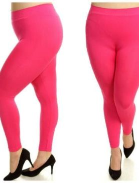 Women's cotton plus size leggings-Pink.