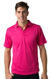 Men's plain short sleeved polo t shirt-Pink.