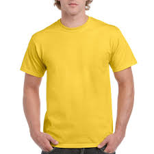 Men's short sleeved round neck t shirt-Yellow