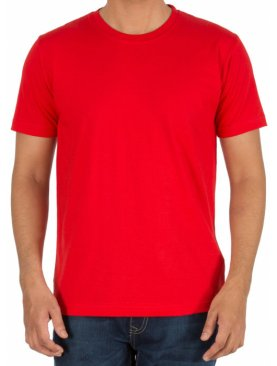 Plain round neck short sleeved tshirt-Red