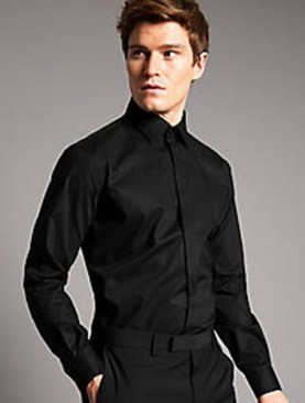 Men's Marks and Spencer long sleeved shirts-Black