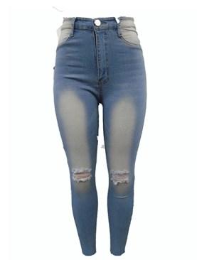 Women's damaged denim jeans-Light Blue.
