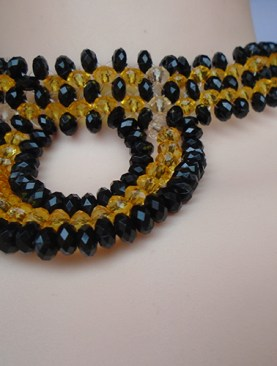 Women's glass bead necklaces-Gold& Black.