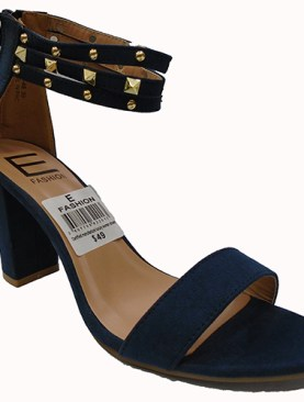 Women's classy high heel shoes with back zipper-Navy Blue.