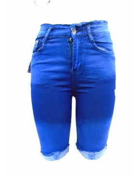 Women's short denim jeans-Blue.