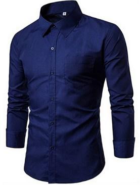 Men's long sleeved formal shirts-Navy Blue.