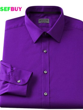 Women's long sleeved formal shirts-Purple.