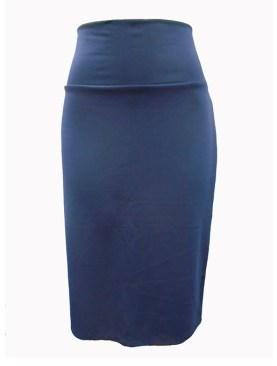 Women's high waist skirt with back slit-Navy Blue.