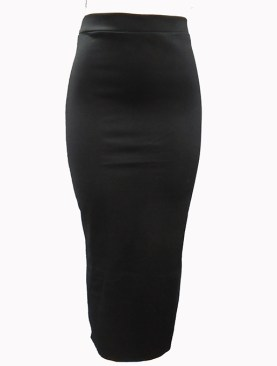 Women's plain long skirts -Black.