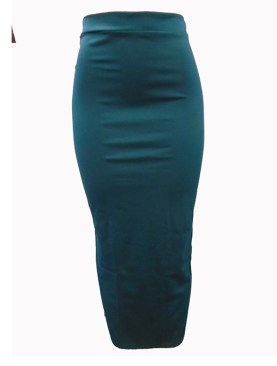 Women's plain long skirt with back slit-Dark Turquoise.