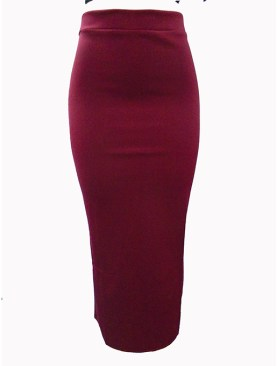 Women's plain long skirts with back slit-Maroon.