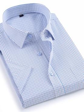 Men's checkered short sleeved shirts-White.