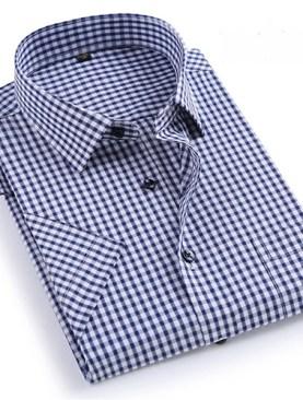 Men's checkered short sleeved shirts-Navy Blue&White.