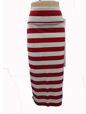 Women's striped long skirts-White&Red.