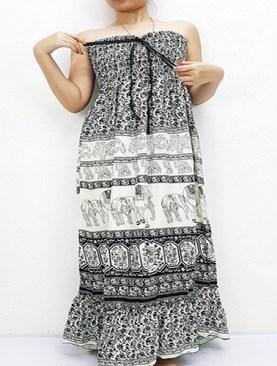 Women's long free wear dress with elephant prints-Black&White.