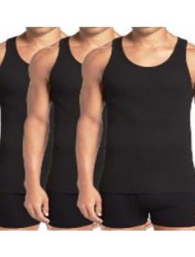 3 Pack pure cotton vests-Black.