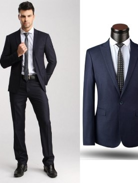 Slim fit one button suit-Navy Blue.