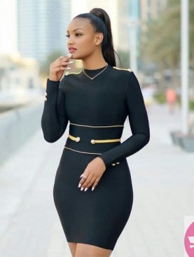 Sexy long sleeved body con dress-Black