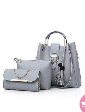 Fashionista 3 pack hand bag set for ladies-Maroon,grey.
