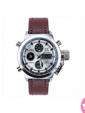 Classic dual chronometer with leather -Silver.
