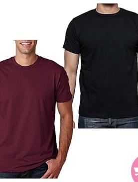 Two pack short sleeved cotton t shirts-Black,Maroon.