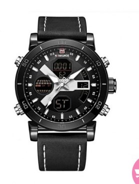 Classic leather strapped watch with digital and analog-Black.