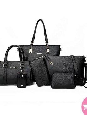 5 pack faux leather hand bag set-Black.