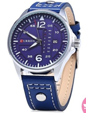 Leather strapped analog watch-Navy blue.