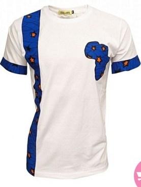 Classy round neck t shirt with kitenge blend-White.