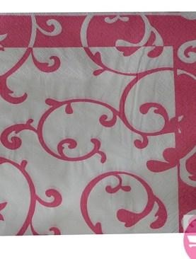 Printed paper napkins - Pink, White