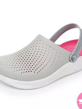 Slip on mule plastic shoes -white and pink