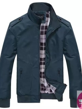 Men's faux leather jacket -Blue
