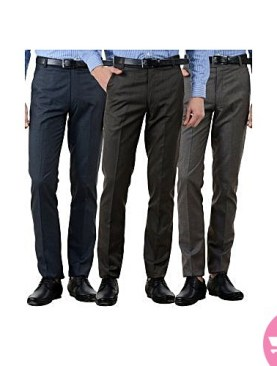 3 pack formal trousers for men