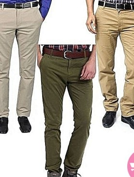 3 pack men's khaki trousers