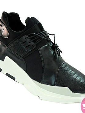 Men's lace up sneaker shoes- black and whie